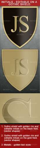 Gothic Shield With Editable Initials � GraphicRiver