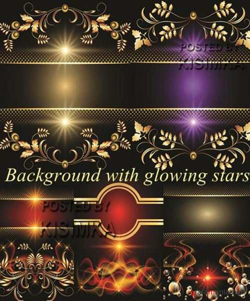 Stock: Background with glowing stars