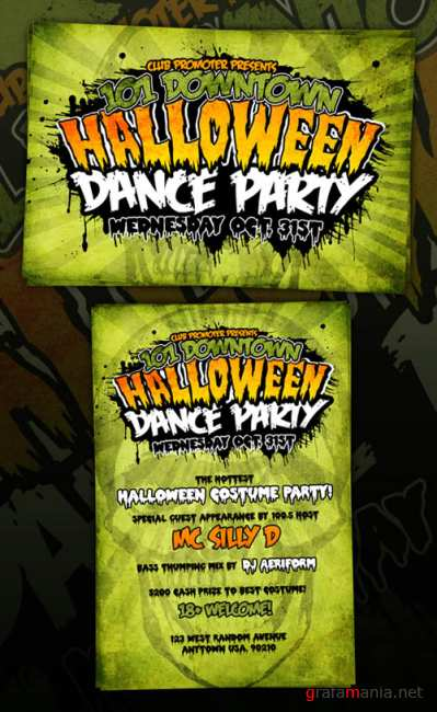 Horror halloween grungy flyer template - GraphicRiver
