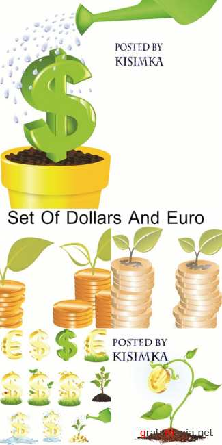 Stock: Set Of Dollars And Euro