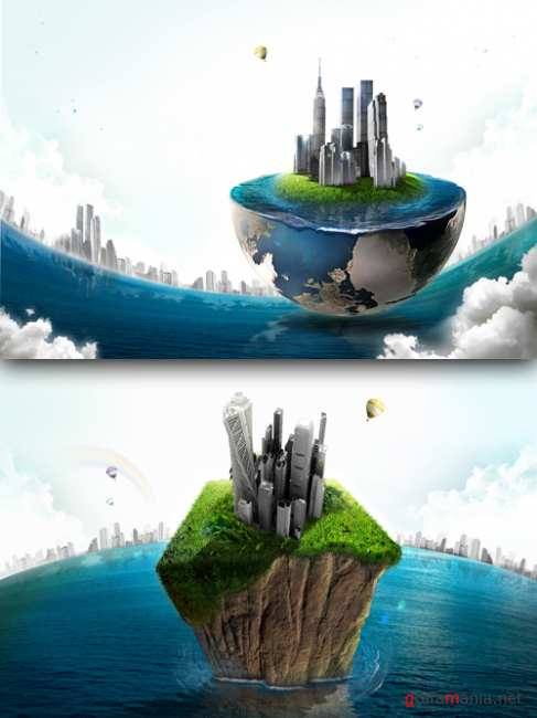 Sources - Floating island in the ocean