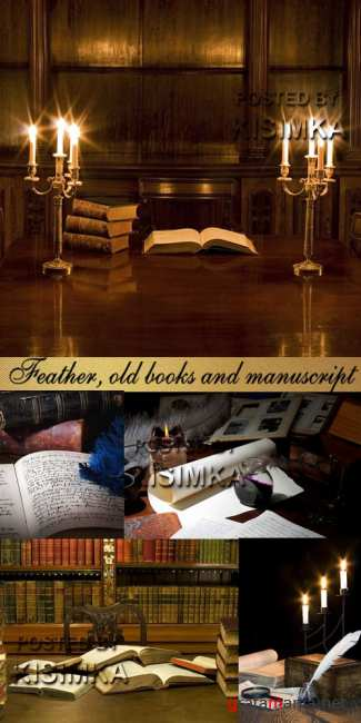 Stock Photo: Feather, old books and manuscript