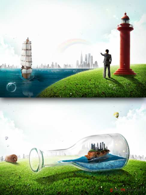 Sources - Lighthouse and a ship in a bottle