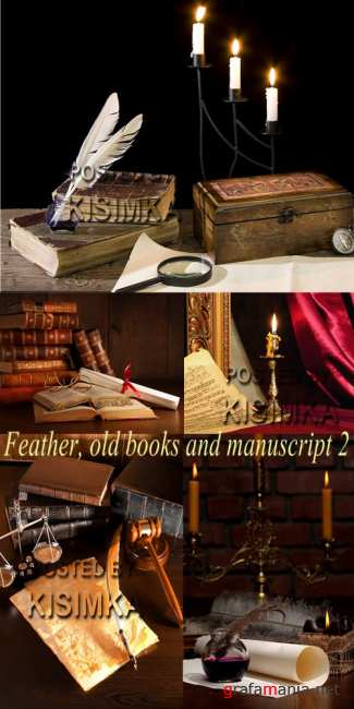 Stock Photo: Feather, old books and manuscript 2