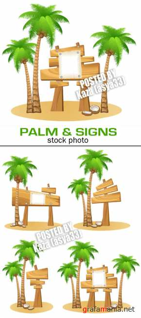 Palm & wooden signs