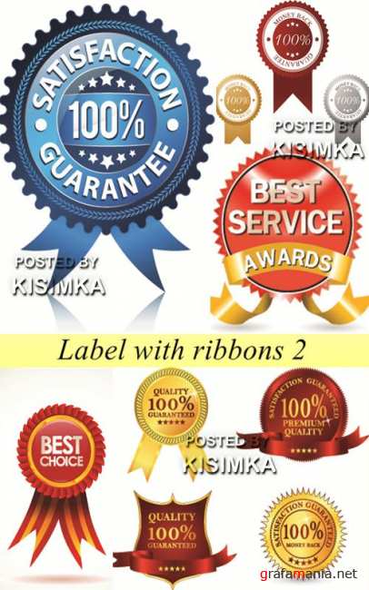 Stock: Label with ribbons 2