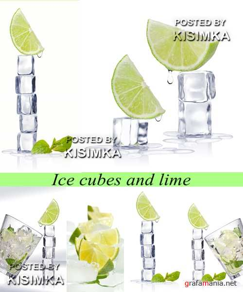Stock Photo: Ice cubes and lime