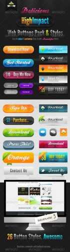 GraphicRiver - Delicious High Impact Web Buttons Pack & Styles