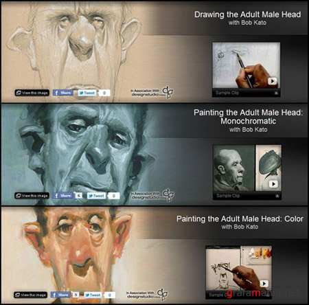 Gnomon Workshop: Painting the Adult Male Head Collection with Bob Kato (Vol. 1-3)