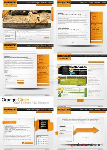 Orange Circle PSD Template