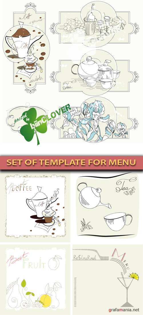 Set of template for menu