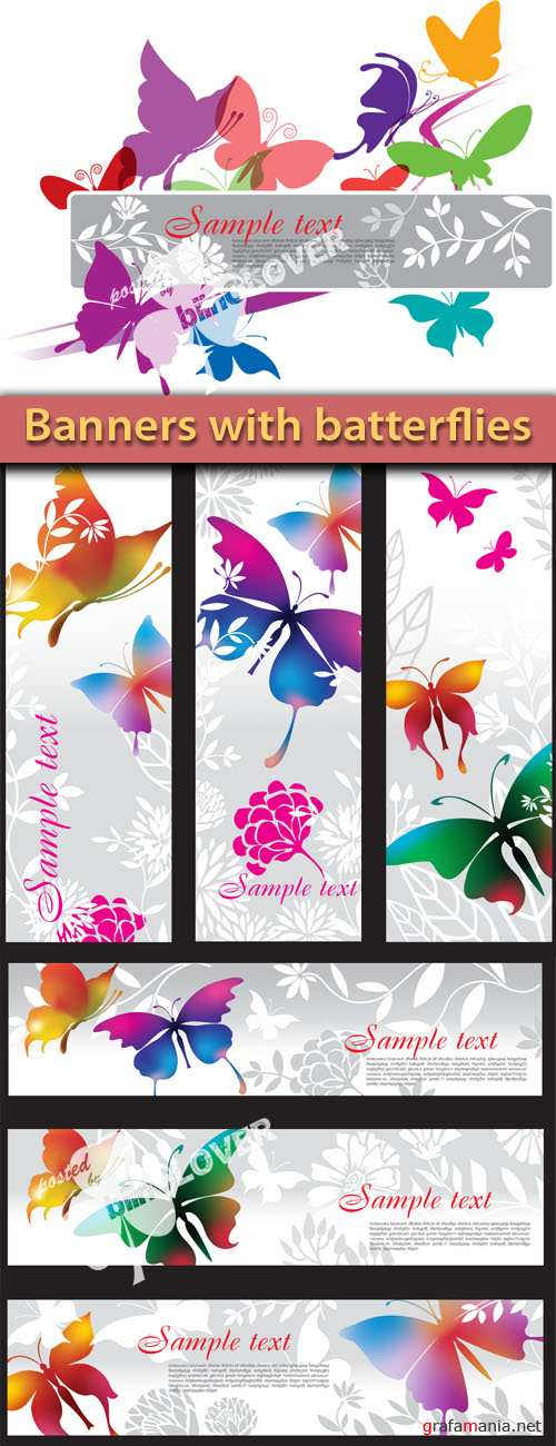 Banner with butterflies