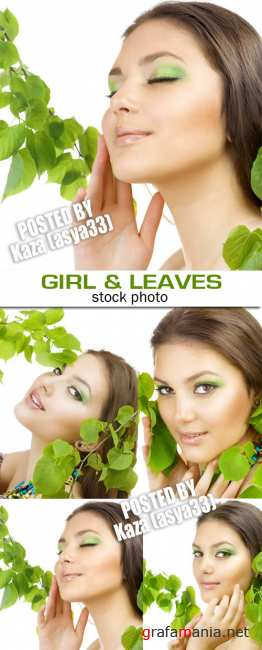 Girl & green leaves 2