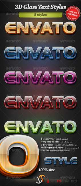 3D Glass Photoshop text styles - GraphicRiver