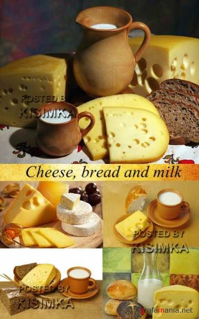 Stock Photo: Cheese, bread and milk