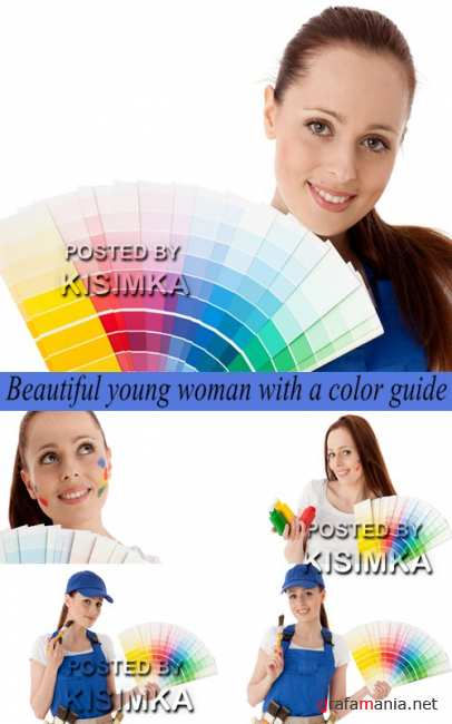Stock Photo: Beautiful young woman with a color guide