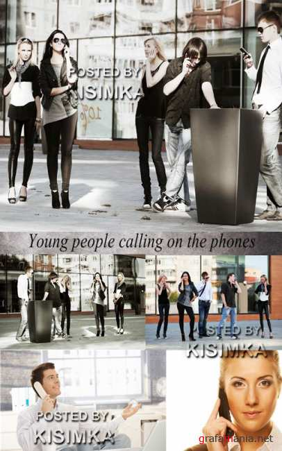 Stock Photo: Young people calling on the phones