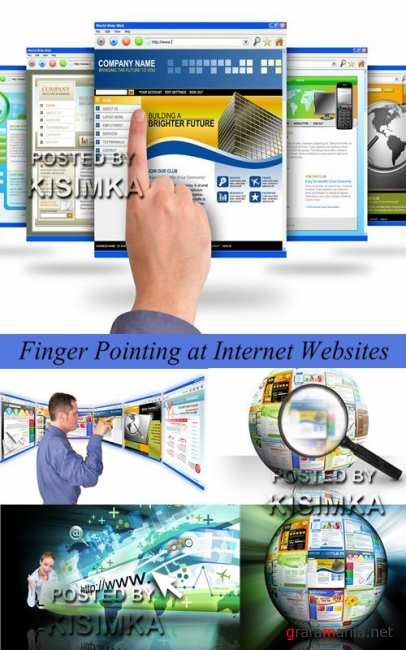 Stock Photo: Finger Pointing at Internet Websites