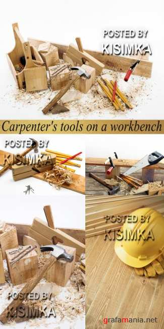 Stock Photo: Carpenter's tools on a workbench