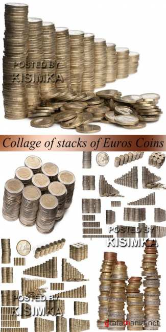 Stock Photo: Collage of stacks of Euros Coins