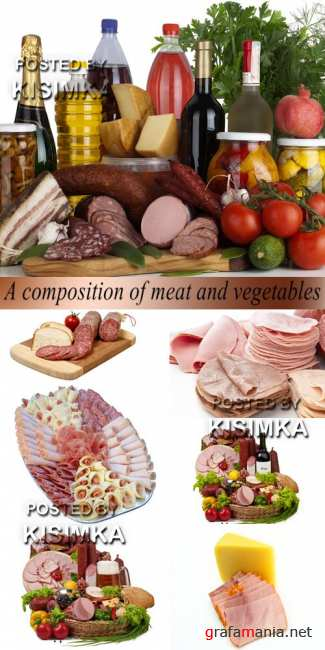 Stock Photo: A composition of meat and vegetables