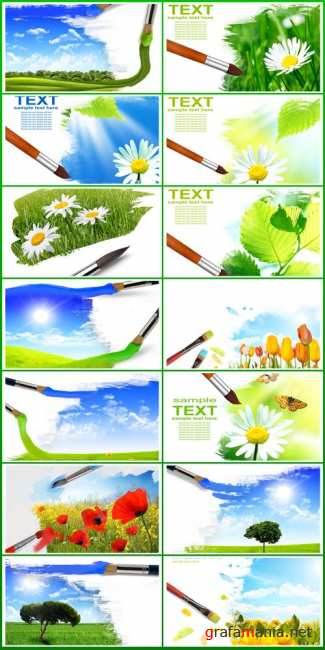 Stock Photo: Artist brush painting picture of summer nature