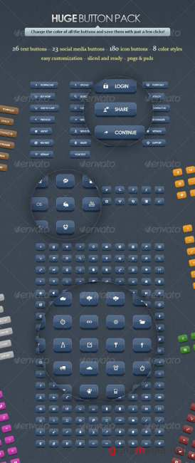 Huge Button Pack - GraphicRiver