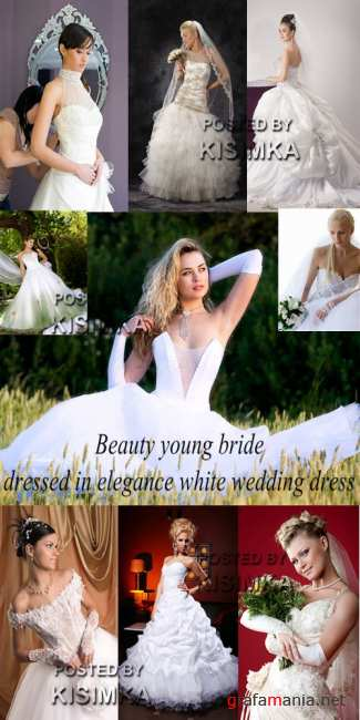 Stock Photo: Beauty young bride dressed in elegance white wedding dress
