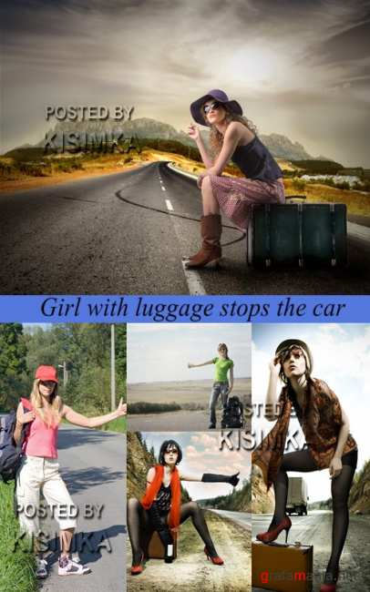Stock Photo: Girl with luggage stops the car