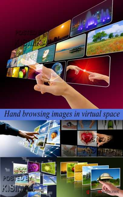 Stock Photo: Hand browsing images in virtual space