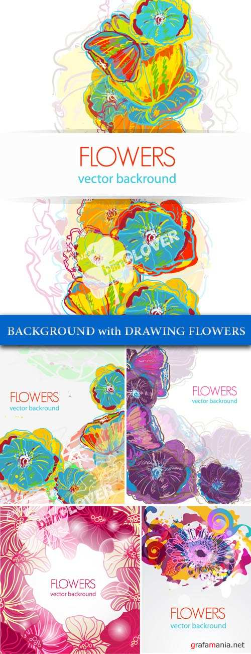 Background with drawing flowers