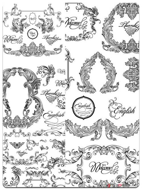 Collection Patterns and Ornaments - Vector Stock