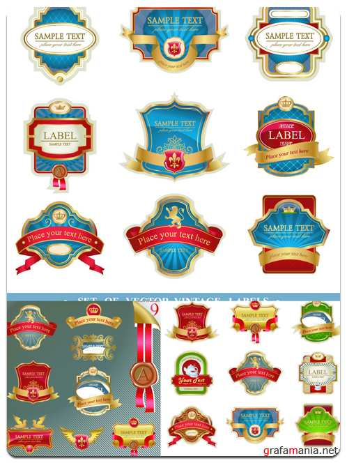 Collection of Vintage Labels - Vector Stock