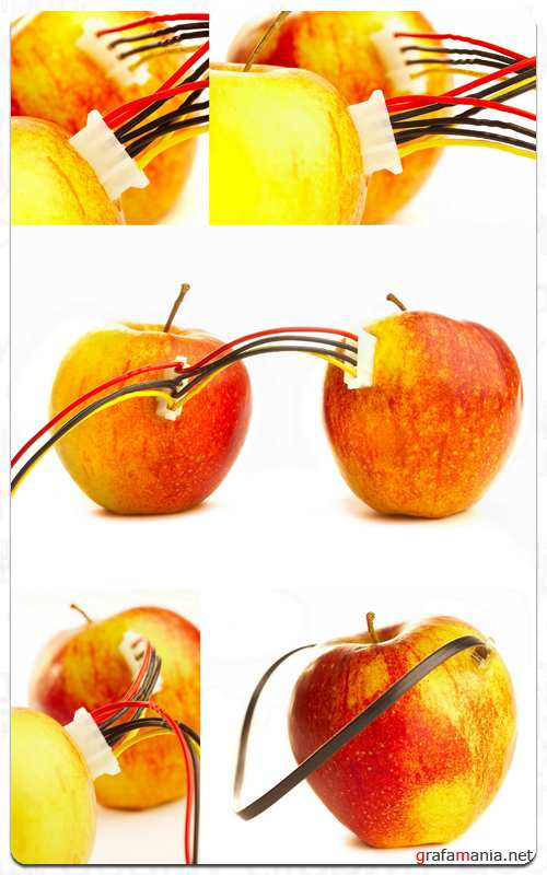 Apple and Wires - Stock Images