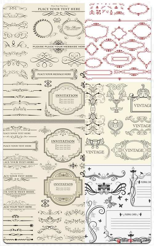 Vintage Frames and Ornaments - Stock Vector Set