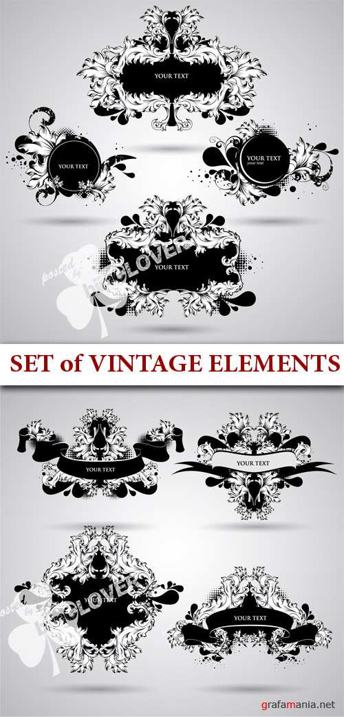 Set of vintage elements