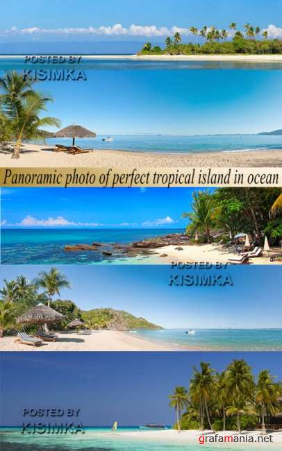 Stock Photo: Panoramic photo of perfect tropical island in ocean