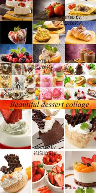 Stock Photo: Beautiful dessert collage