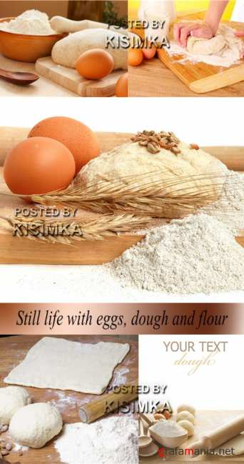 Stock Photo: Still life with eggs, dough and flour