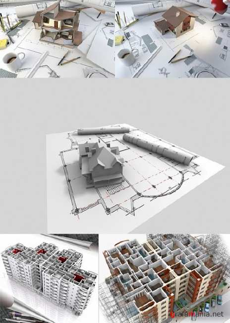 Plans and 3d Sectional Model of a House