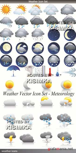 Stock: Weather Vector Icon Set - Meteorology