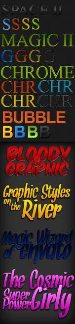 A collection of colorful styles for Photoshop