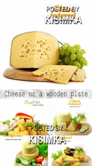 Stock Photo: Cheese on a wooden plate
