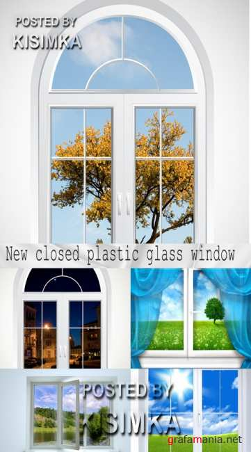 Stock Photo: New closed plastic glass window