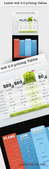 Latest web 2.0 pricing tables
