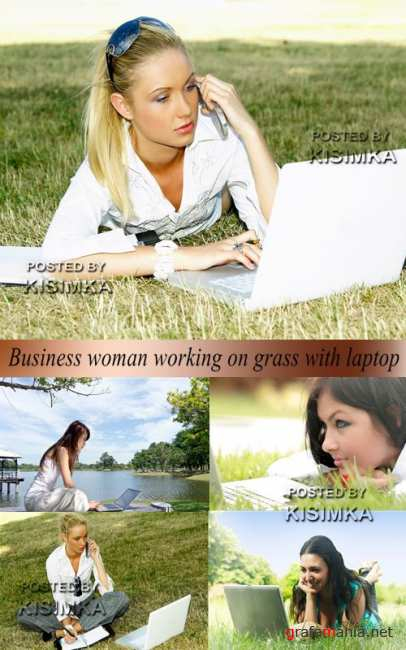 Stock Photo: Business woman with laptop