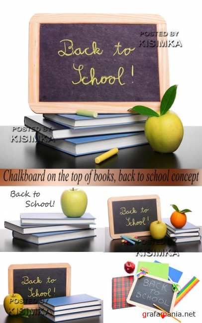 Stock Photo: Chalkboard on the top of books
