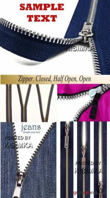 Stock Photo: Zipper. Closed, Half Open, Open