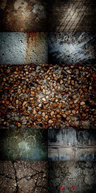 A large set of textures wall