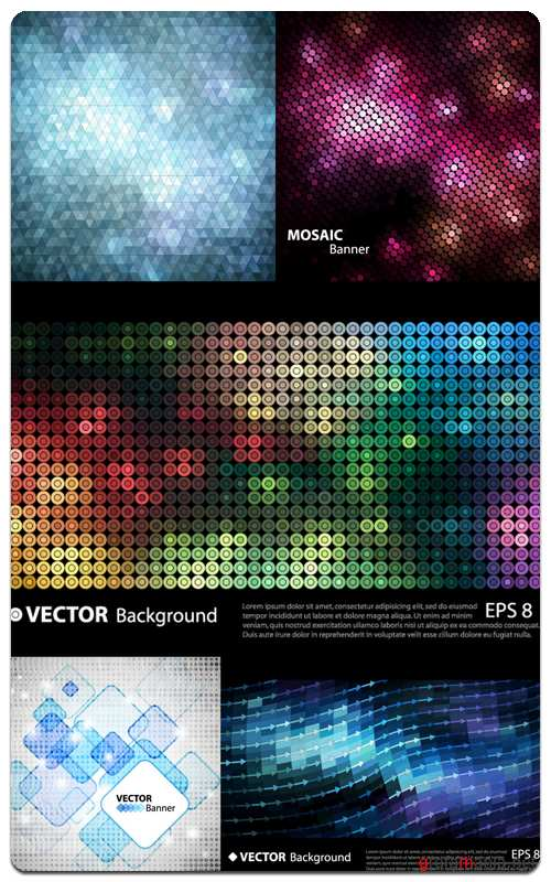 Glowing Mosaic Backgrounds - Vector Stock